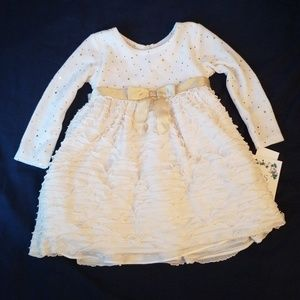 *NWT* White and Gold Long Sleeve Dress